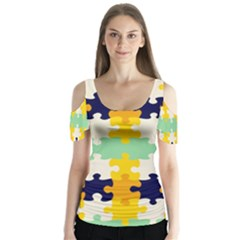 Puzzle Pieces      Butterfly Sleeve Cutout Tee