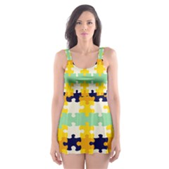 Puzzle pieces                                                                     Skater Dress Swimsuit