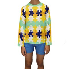 Puzzle pieces                                                                      Kid s Long Sleeve Swimwear
