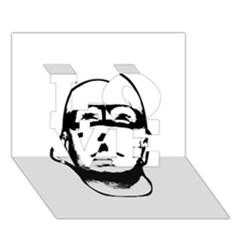 Baldhead Hero Comic Illustration LOVE 3D Greeting Card (7x5)