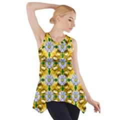 Summer Festive In Green Grass  Side Drop Tank Tunic