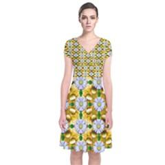 Summer Festive In Green Grass  Short Sleeve Front Wrap Dress