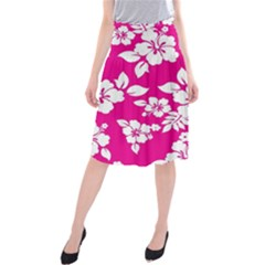 Pink Hawaiian Midi Beach Skirt