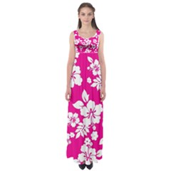 Pink Hawaiian Empire Waist Maxi Dress