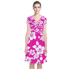 Pink Hawaiian Short Sleeve Front Wrap Dress
