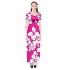 Pink Hawaiian Short Sleeve Maxi Dress