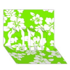 Lime Hawaiian GIRL 3D Greeting Card (7x5)