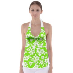 Lime Hawaiian Babydoll Tankini Top