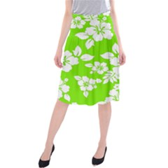 Lime Hawaiian Midi Beach Skirt