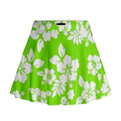 Lime Hawaiian Mini Flare Skirt