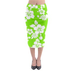 Lime Hawaiian Midi Pencil Skirt