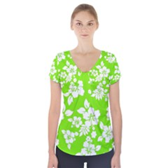 Lime Hawaiian Short Sleeve Front Detail Top