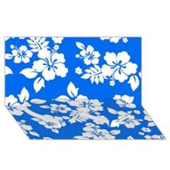 Blue Hawaiian Twin Heart Bottom 3D Greeting Card (8x4)