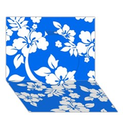 Blue Hawaiian Circle 3D Greeting Card (7x5)