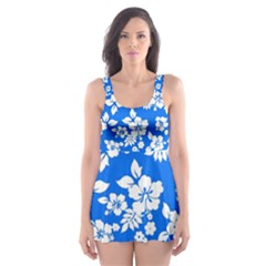 Blue Hawaiian Skater Dress Swimsuit