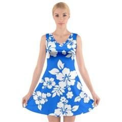 Blue Hawaiian V Neck Sleeveless Skater Dress