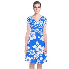 Blue Hawaiian Short Sleeve Front Wrap Dress