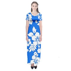 Blue Hawaiian Short Sleeve Maxi Dress