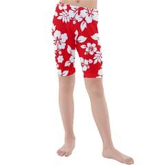 Red Hawaiian Kid s Mid Length Swim Shorts