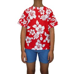 Red Hawaiian Kid s Short Sleeve Swimwear