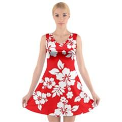 Red Hawaiian V Neck Sleeveless Skater Dress