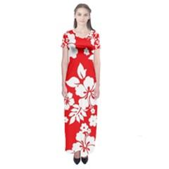Red Hawaiian Short Sleeve Maxi Dress