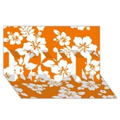 Orange Hawaiian MOM 3D Greeting Card (8x4)