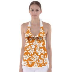 Orange Hawaiian Babydoll Tankini Top