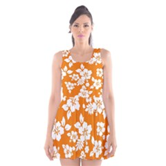 Orange Hawaiian Scoop Neck Skater Dress