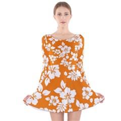 Orange Hawaiian Long Sleeve Velvet Skater Dress