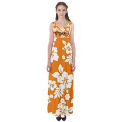 Orange Hawaiian Empire Waist Maxi Dress
