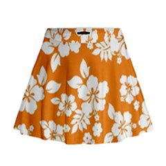 Orange Hawaiian Mini Flare Skirt