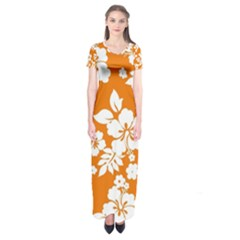 Orange Hawaiian Short Sleeve Maxi Dress