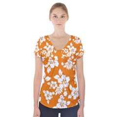 Orange Hawaiian Short Sleeve Front Detail Top