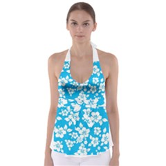 Light Blue Hawaiian Babydoll Tankini Top