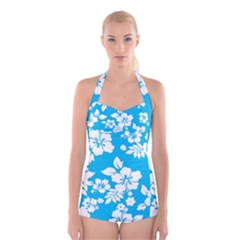 Light Blue Hawaiian Boyleg Halter Swimsuit