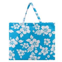 Light Blue Hawaiian Zipper Large Tote Bag