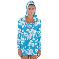 Light Blue Hawaiian Women s Long Sleeve Hooded T-shirt