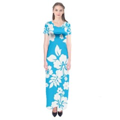 Light Blue Hawaiian Short Sleeve Maxi Dress