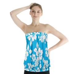 Light Blue Hawaiian Strapless Top