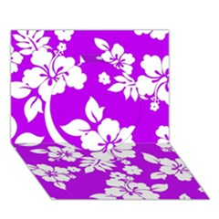 Purple Hawaiian Circle 3D Greeting Card (7x5)