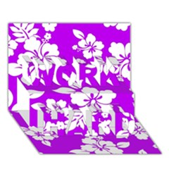 Purple Hawaiian WORK HARD 3D Greeting Card (7x5)