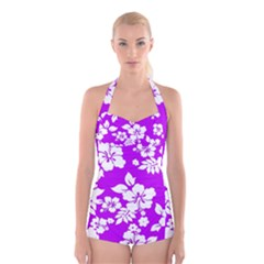 Purple Hawaiian Boyleg Halter Swimsuit