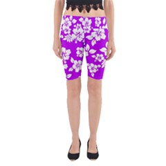 Purple Hawaiian Yoga Cropped Leggings