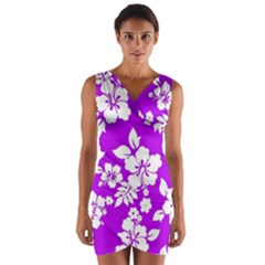 Purple Hawaiian Wrap Front Bodycon Dress