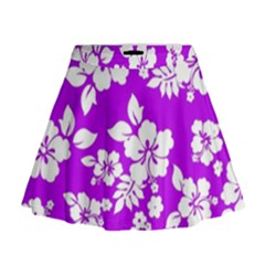 Purple Hawaiian Mini Flare Skirt