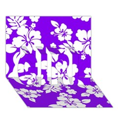 Violet Hawaiian GIRL 3D Greeting Card (7x5)