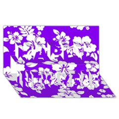 Violet Hawaiian Happy New Year 3D Greeting Card (8x4)