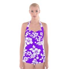 Violet Hawaiian Boyleg Halter Swimsuit