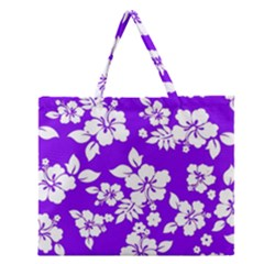 Violet Hawaiian Zipper Large Tote Bag